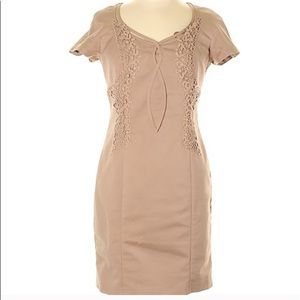 Reiss • Tan Embroidered Pencil Dress Size 2